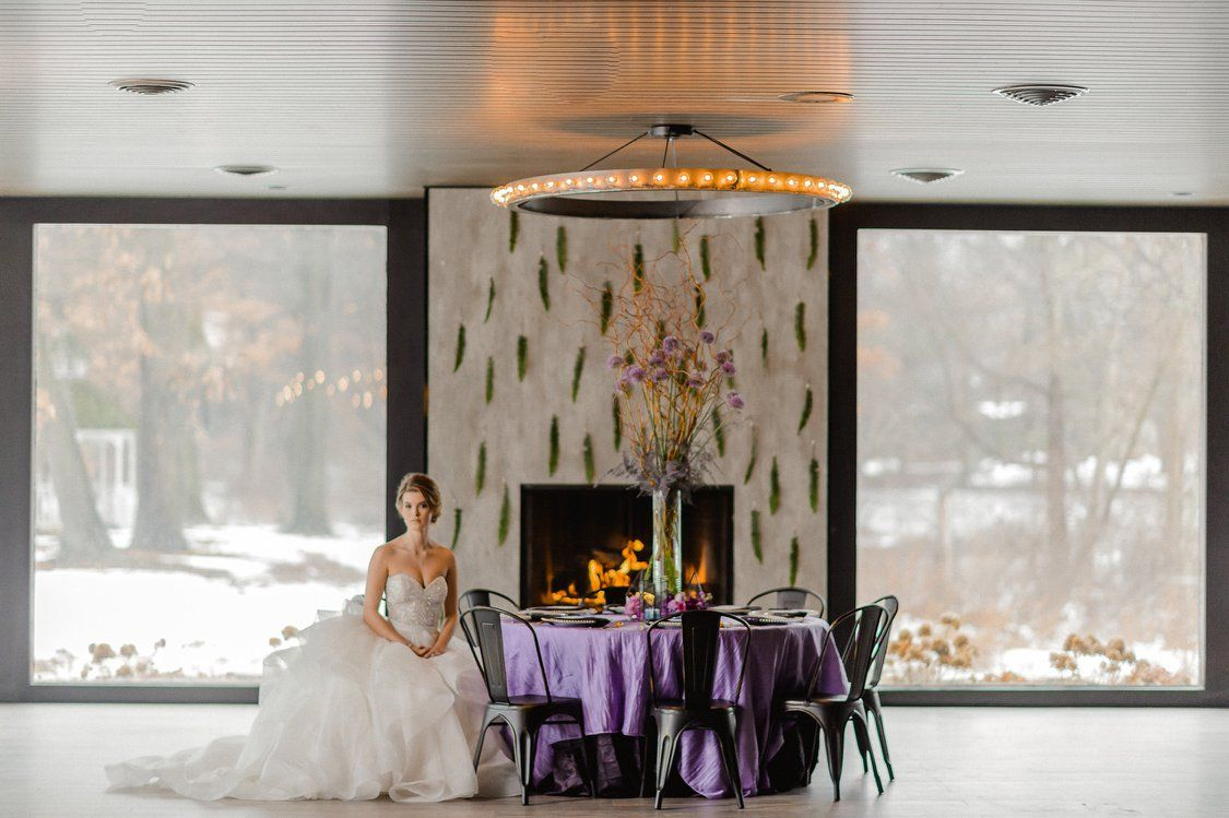 Fireplace at the allure on the lake indiana wedding