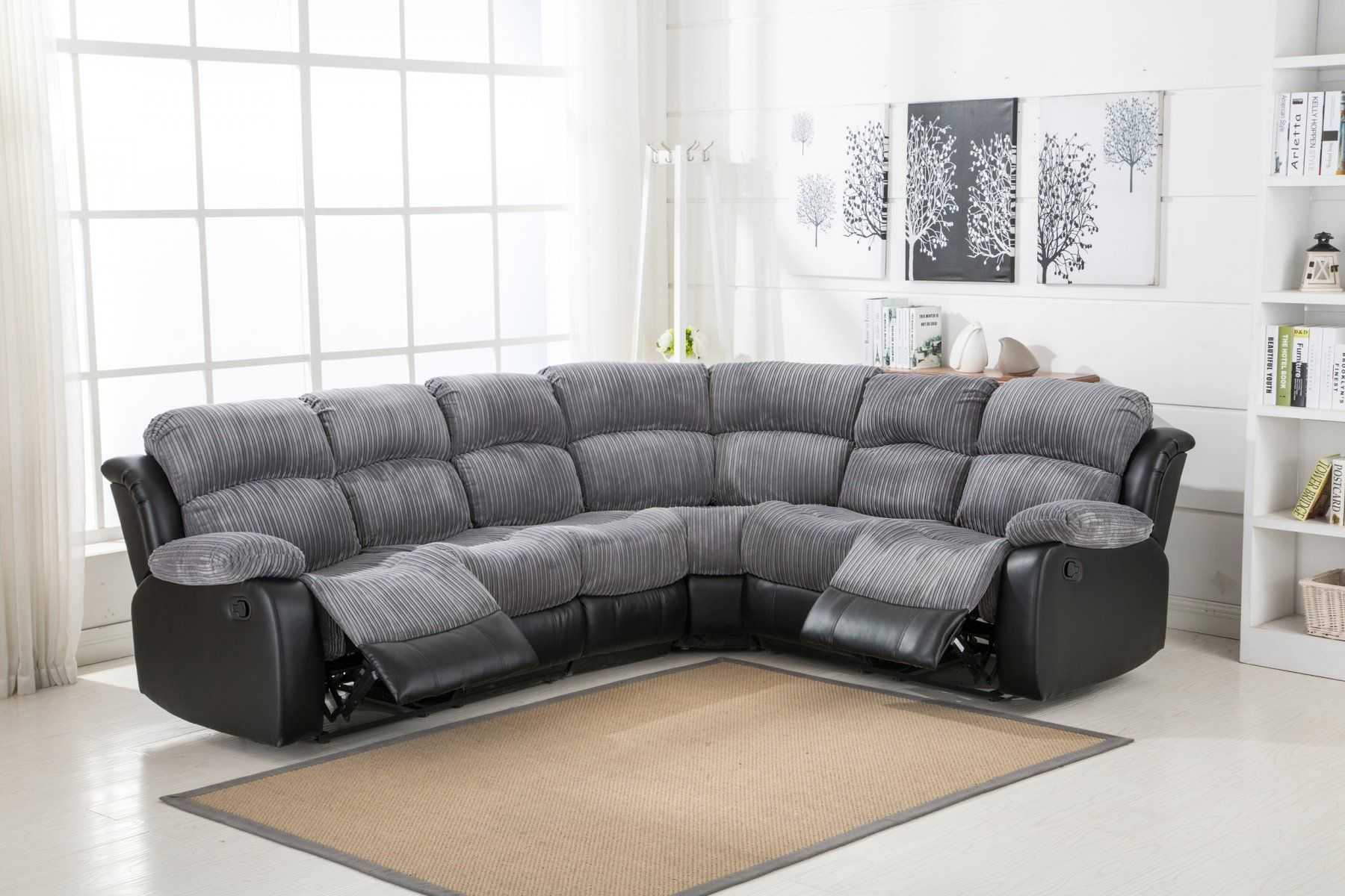 Jumbo Cord Grey 3c2 2c3 Chicago Corner Recliner Sofa Recliner Corner Sofa Grey Corner Sofa Fabric Sofa Bed