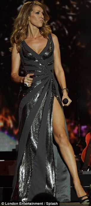 e019ece91ee743 The thigh's the limit for Celine Dion who shows off her svelte legs ...