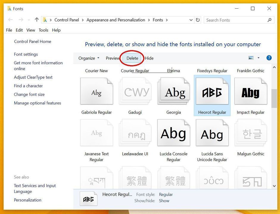 How to add, remove and modify fonts in Windows 10