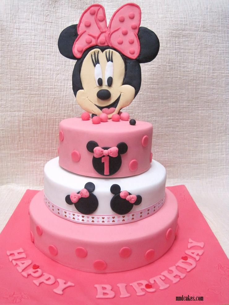 2 Year Old Girl Birthday Cake Ideas | Tiered Minnie Mouse Cake For 1st  Birthday