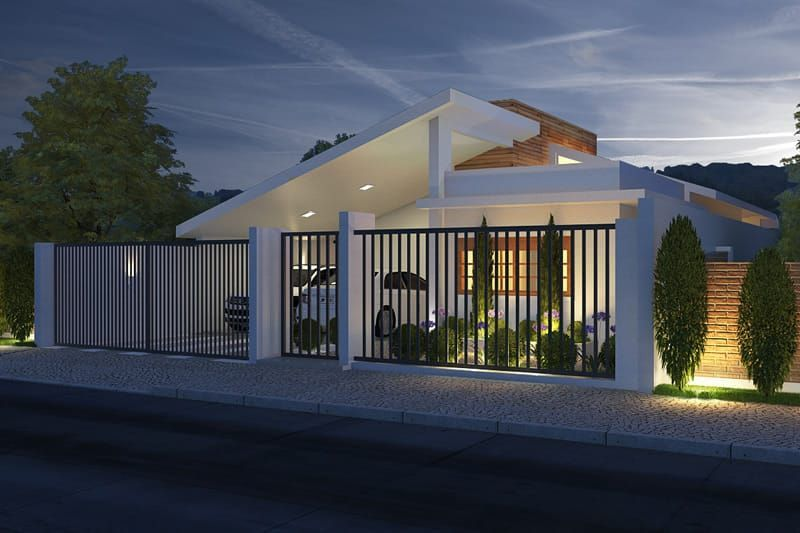 Plano de casa con garaje para dos coches Casas, Rejas