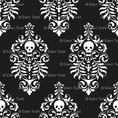 Skull Damask - white on black wallpaper by edenki for sale on Spoonflower - custom wallpaper. Custom made fabric and wallpaper. They even can make clothing labels!!