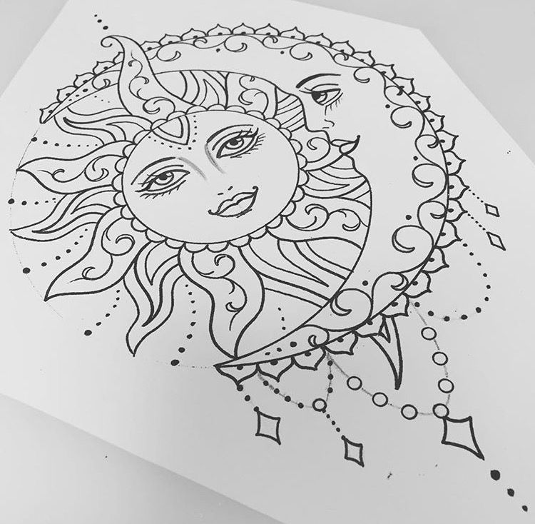 Sun and moon tatto