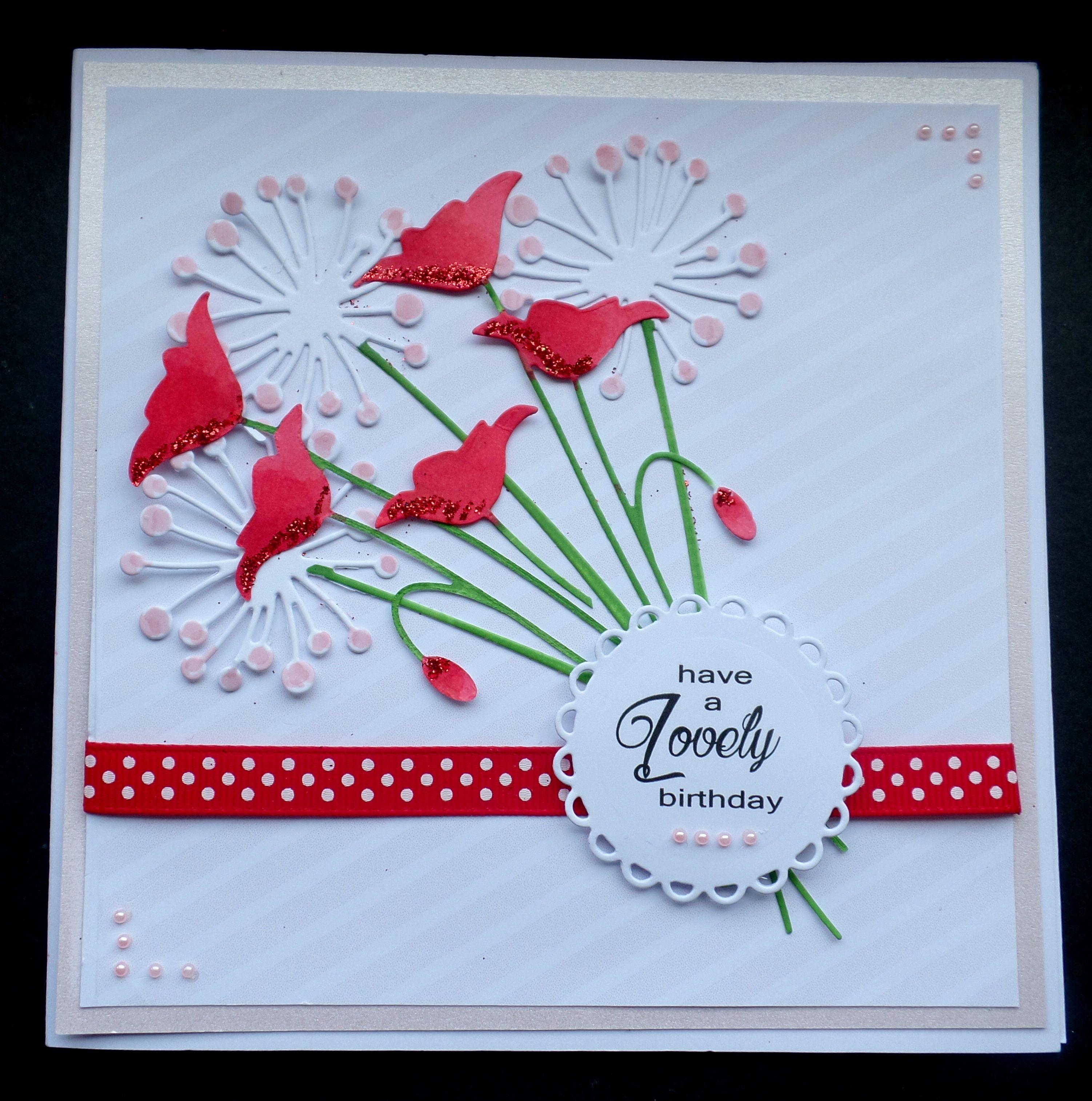 Hand Made Birthday Card Using Memory Box Prim Poppy And Chloe Die