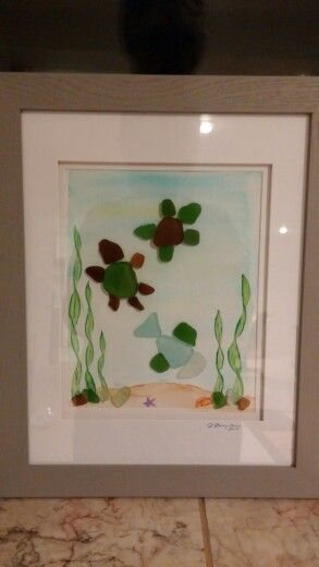 Seaglass From Alaska Watercolor Background Beachwood Frame From Michaels Turtles With Fish Sea Glass Art Pebble Art Glass Art