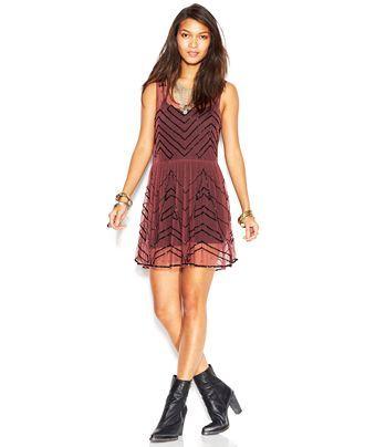 Free People Sleeveless Embellished Mini Slip Dress - Dresses - Women - Macy's