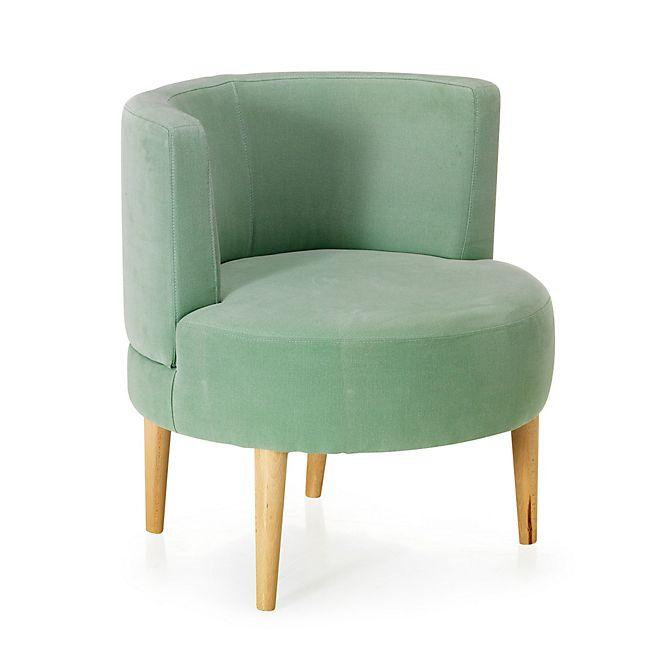 fauteuil rond en pin coloris vert cactus  nelson