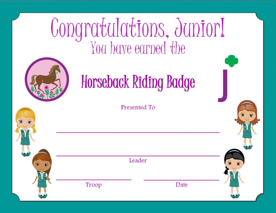 Junior horseback riding badge certificate junior girl scouts junior horseback riding badge certificate yadclub Choice Image