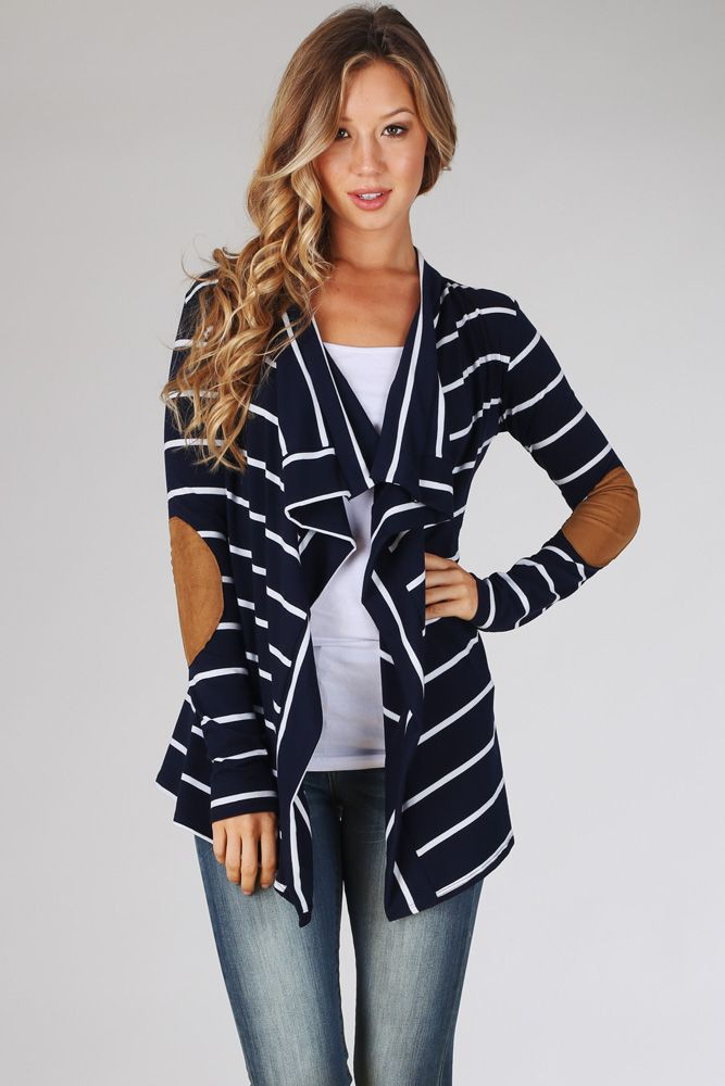 525376611 Navy Blue White Striped Suede Elbow Patch Cardigan in 2019