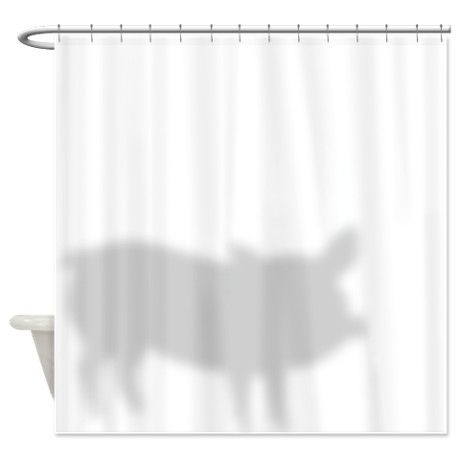 Funny Pig Shadow Shower Curtain By Goatlady Getyergoat Funny