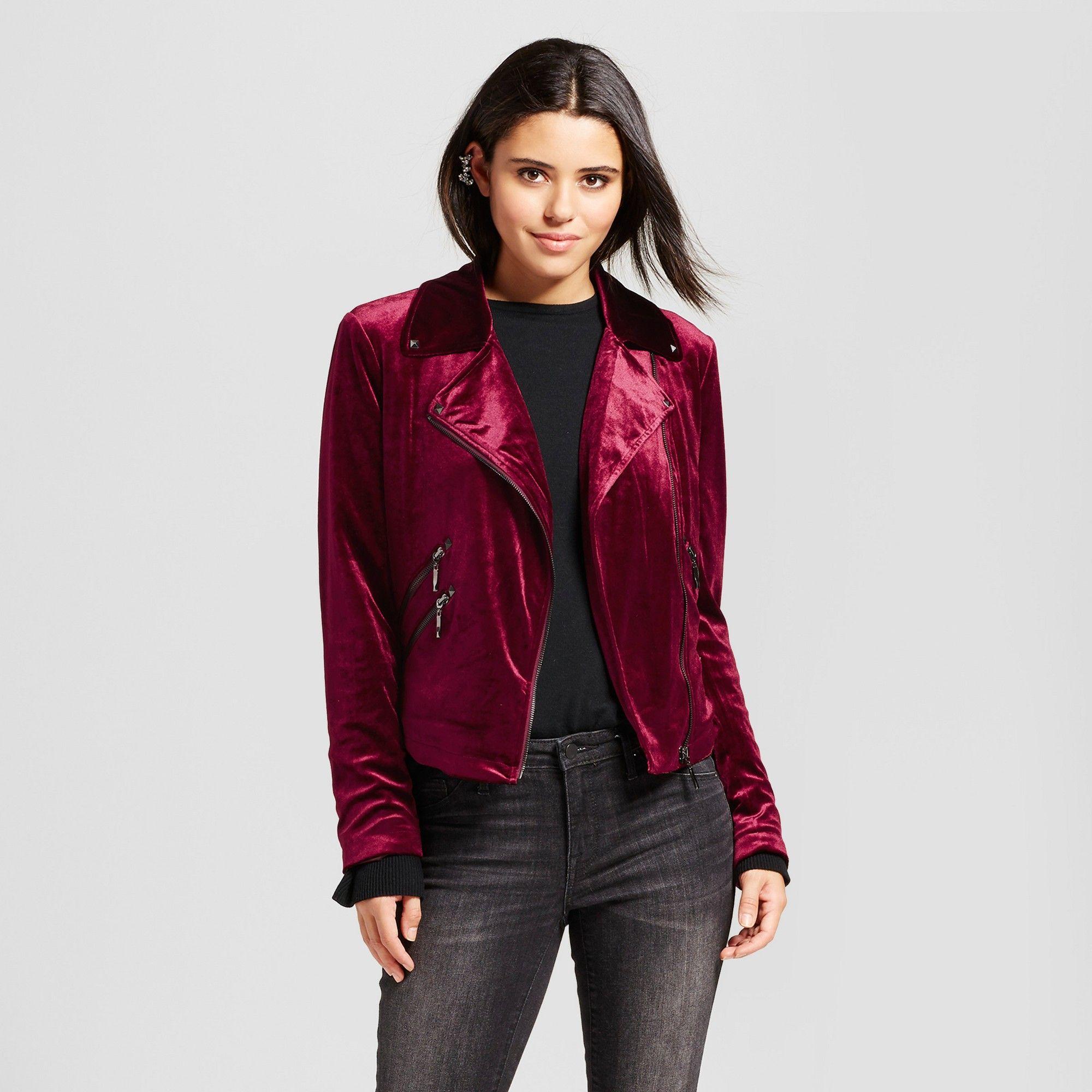 Women's Velvet Moto Jacket Bagatelle Burgundy L, Size