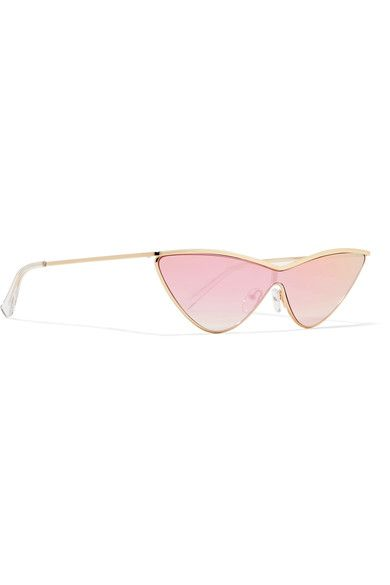 4f4a369011 Le Specs - Adam Selman The Fugitive Cat-eye Gold-tone Mirrored Sunglasses