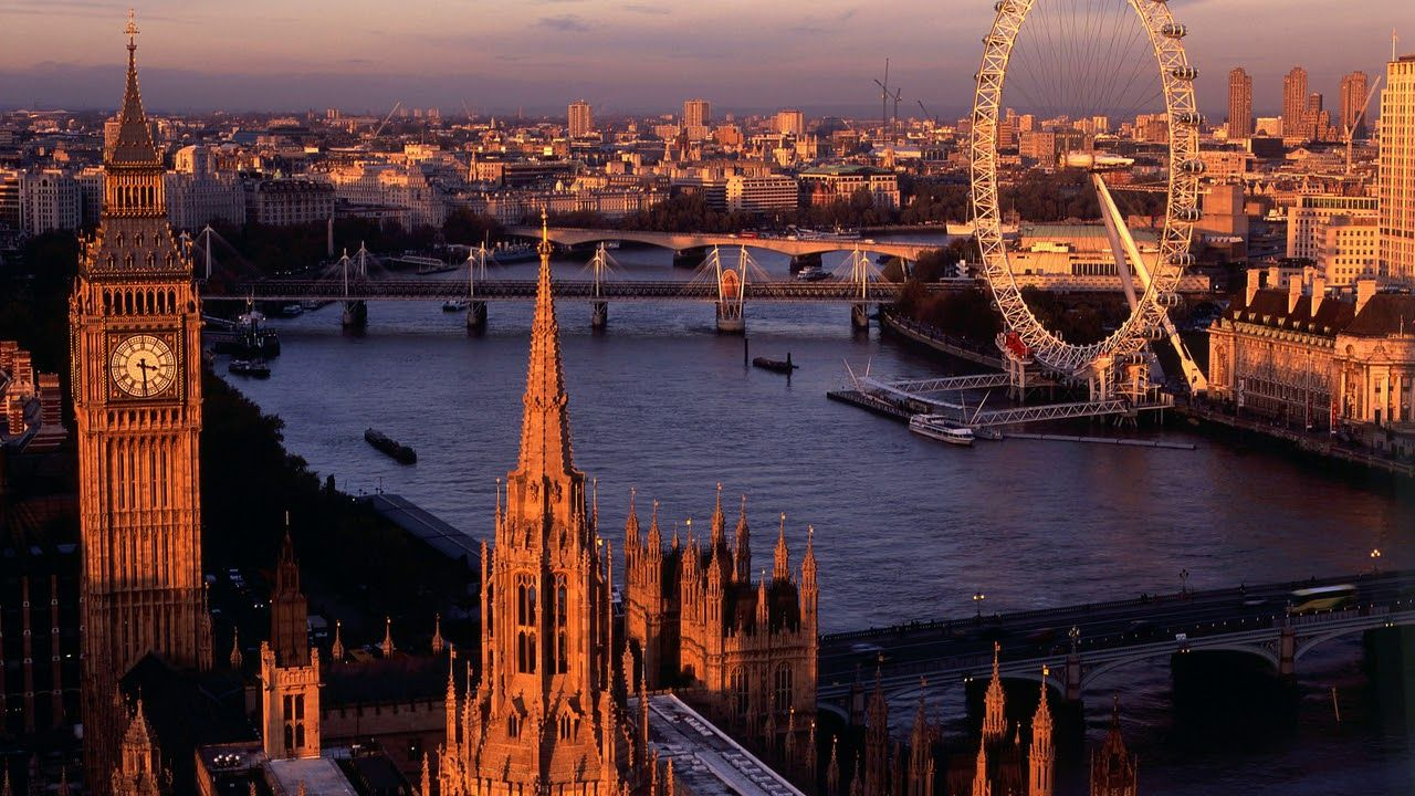 Картинка город. Река, закат, Англия, город, Лондон ...