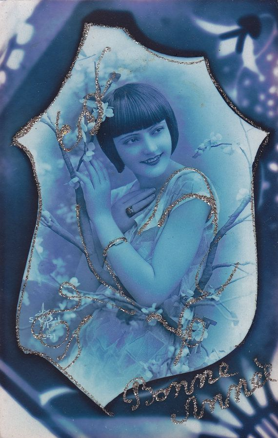 Blue Tinted Art Deco Flapper Style Glamour Lady with Gold Glitter Original Photo…