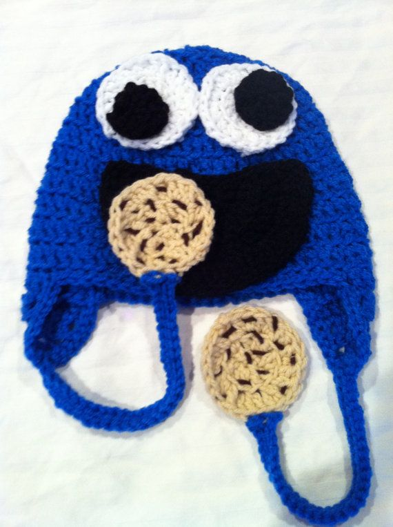 Cookie monster earflap hat with decorative cookies @Sasha Hatherly ...