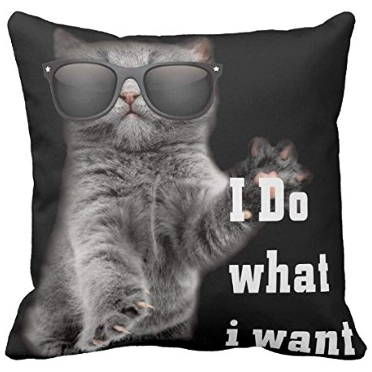 Kissenday 18x18 Inch I Do What I Want Funny Cat With Glasses Cotton Polyester Decorative Home Decor Sofa Couch Desk Chair Bedroom Car Neutral Kitty Lover Christmas Birthday Square Throw Pillow Case ** Read more reviews of the product by visiting the link on the image. (This is an affiliate link) #bedding