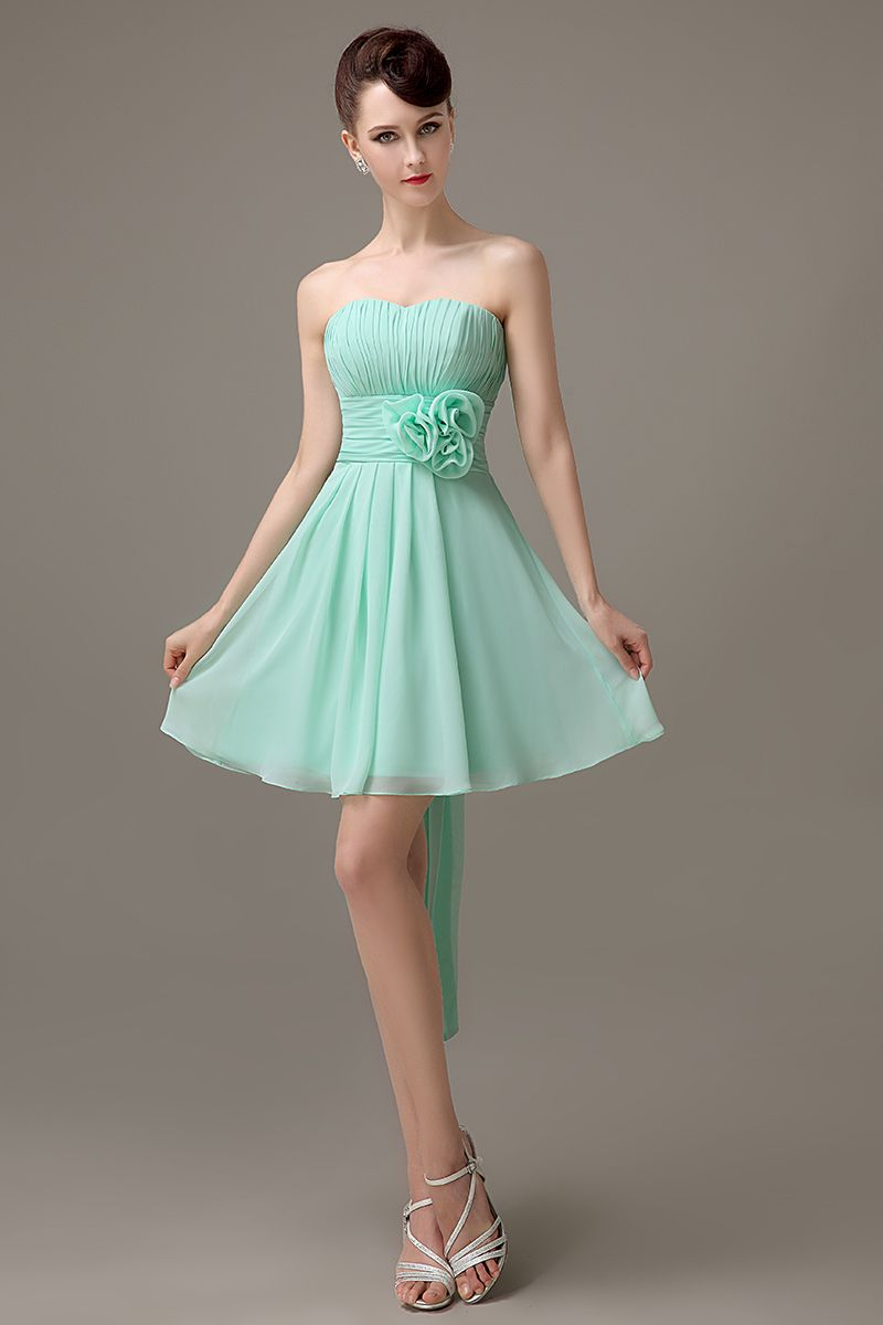 Click to buy mint green chiffon short strapless bridesmaid click to buy mint green chiffon short strapless bridesmaid dress simple cheap ombrellifo Choice Image