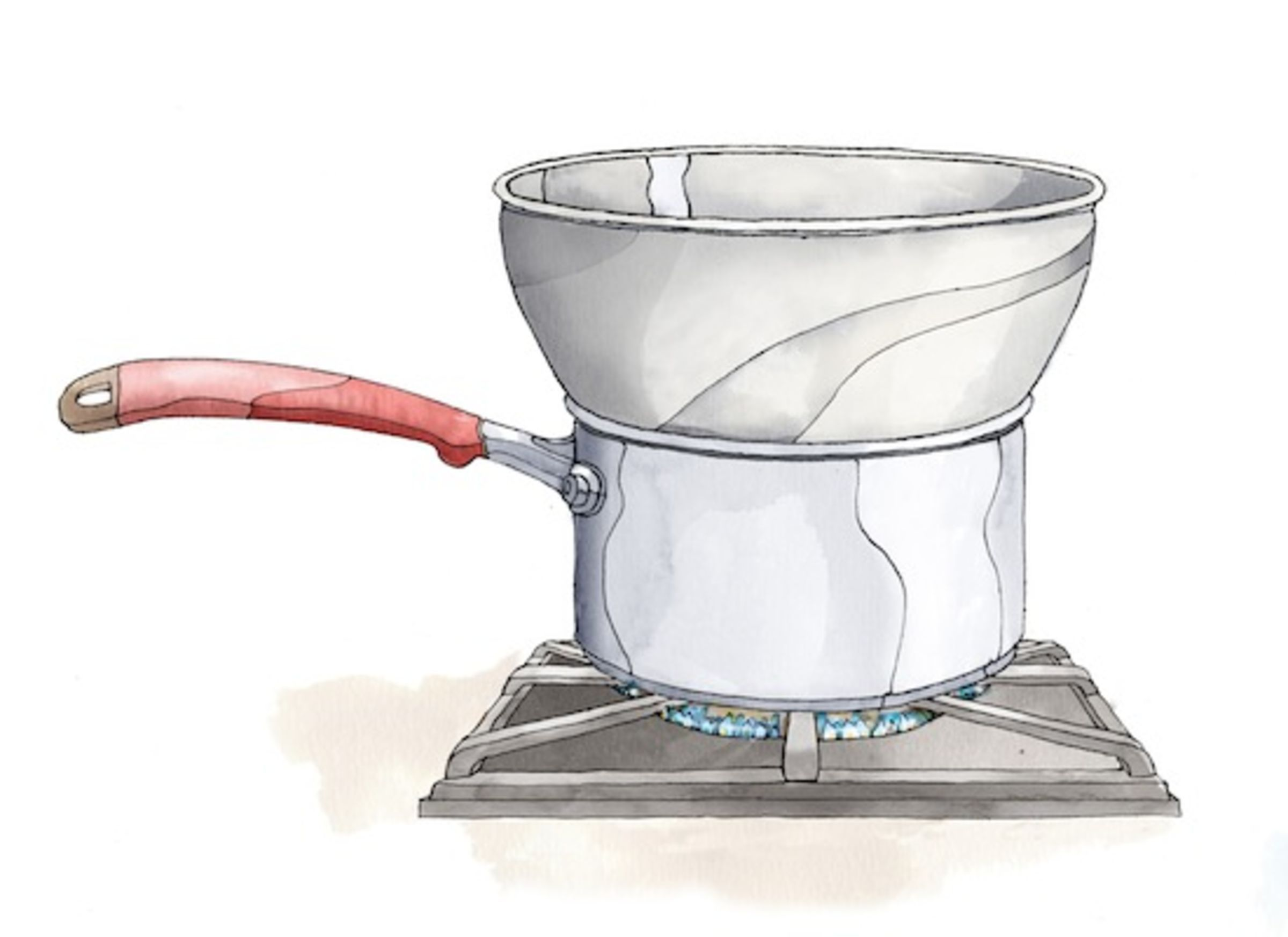 """Don't have a double boiler, don't worry--you can still cook citrus curds, custards and puddings! Just channel your inner """"crafty cook"""" and make this do-it-yourself double boiler with items you already have on hand.Step 1: Simmer a few inches of water in a saucepan.Step 2:Stack a metal or glass bowl on top of a saucepan, making sure the bowl fits snugly.What's inside won't burn orstick because the steam fromthe simmering water will heat the bowl gently and evenly. Justm..."""