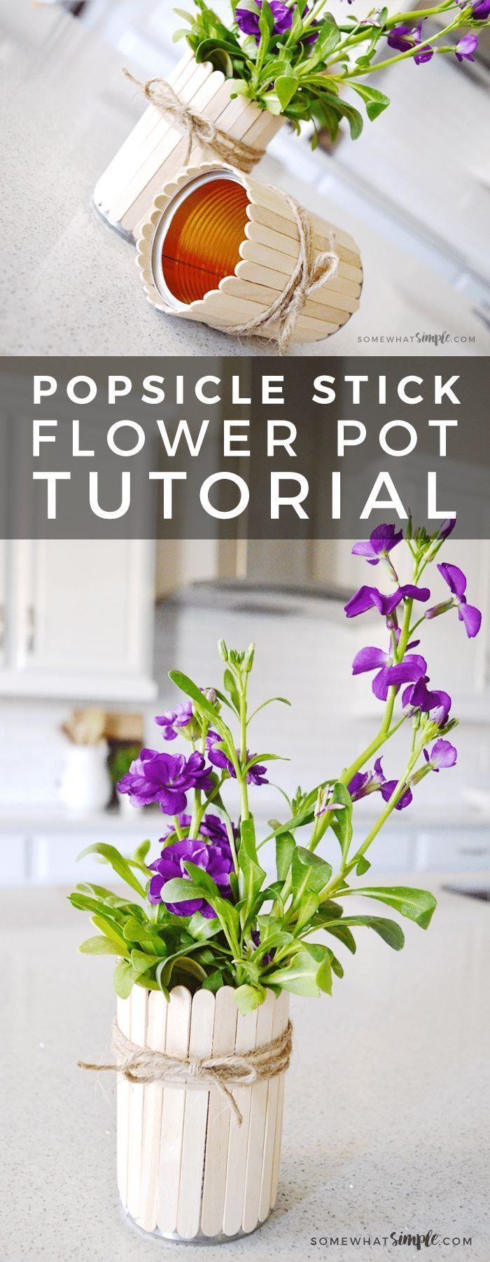 Photo of Popsicle Stick Flower Pots Tutorial