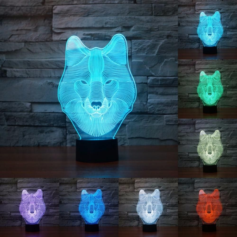 Wolf 3d Illusion Led Lamp 3d Led Night Light Christmas Gifts Toys 3d Illusions