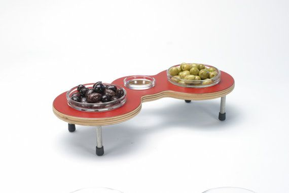 """""""Binoc"""" Table top stand holds cherries or Olives and has a place for the pits. Organize your food or small items like car keys or safety pins or loose buttons? Great for hors d'oeuvre at cocktail party in a modern setting."""