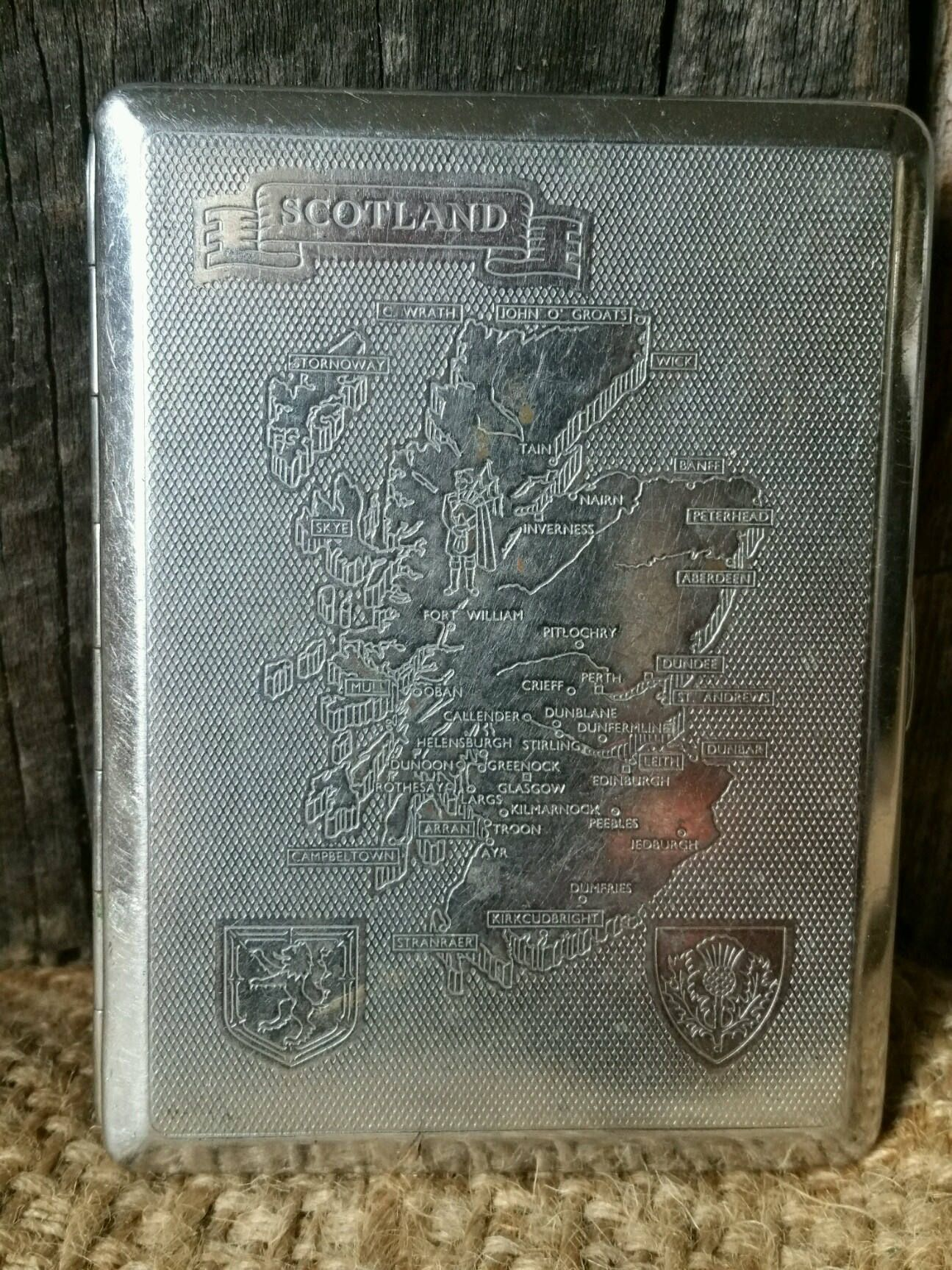 Vintage Kincraft Cigarette Case with Scotland Map,Business Card ...