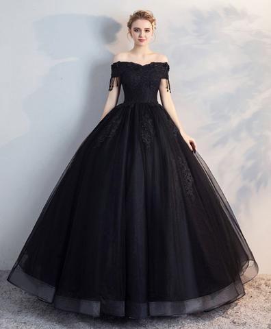23288a54b9c Black off shoulder lace tulle long prom dress