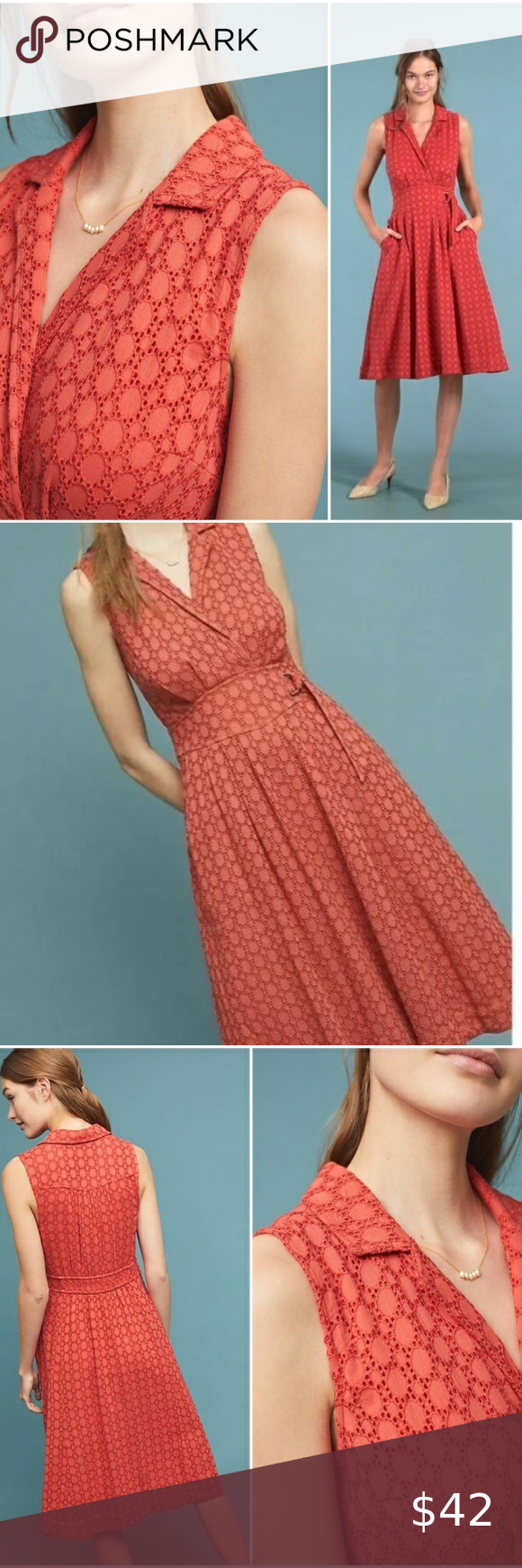 Anthropologie Coral Red Eyelet Retro Fit Dress Anthropologie Sleeveless Collared Dress Coral Red Eye Sleeveless Collared Dress Fit And Flare Dress Fitted Dress