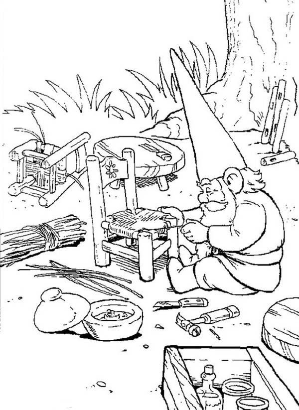 david the gnome, : David the Gnome Weaving a Rattan Chair Coloring Pages