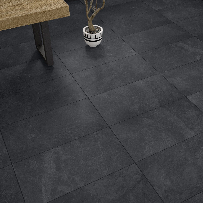 Carrelage sol et mur intenso pierre noir Sicile l.30 x L.60 ...