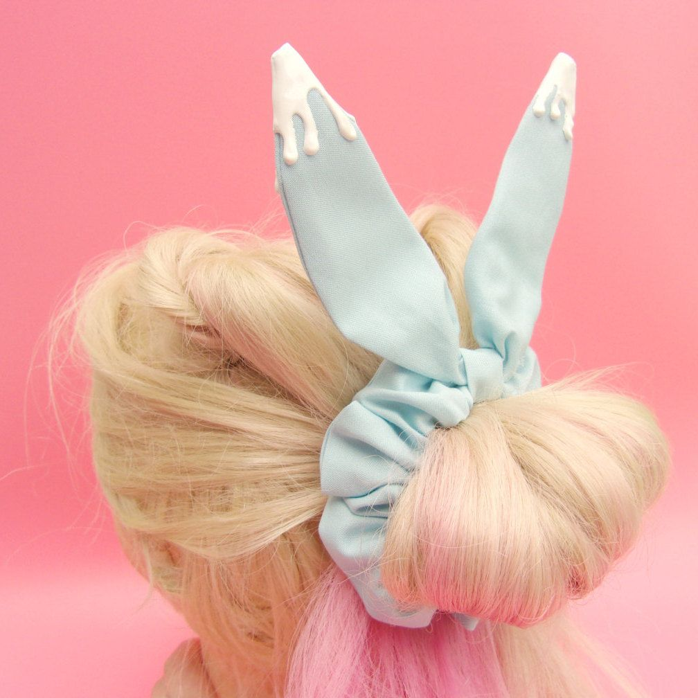 Kawaii Bunny Ear Scrunchie Pantone Color Of The Year 2016 Cute Hair Accessories Kawaii Ha Kawaii Hair Accessories Kawaii Hairstyles Prom Hair Accessories