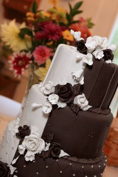 White Chocolate And Dark Wedding Cake With Sugar Flowers Small Silver Ball Accents