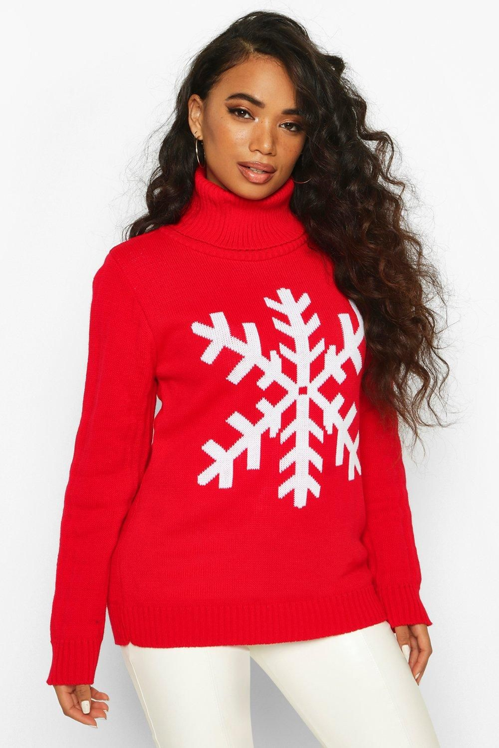 Petite Roll Neck Snowflake Christmas Jumper (With images