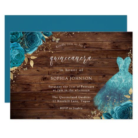 Rustic Teal Sparkle Dress Rose Quinceanera Party Invitation | Zazzle.com