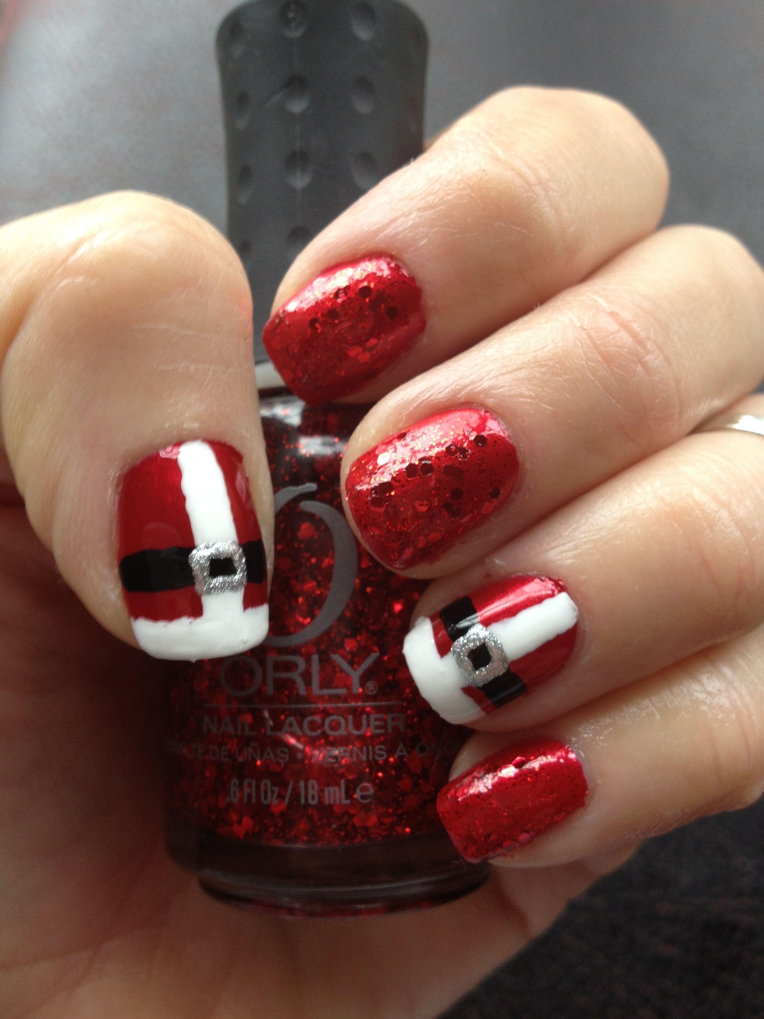 Santa Suit Nail Art! | Santa suit nails | Pinterest | Santa suits ...