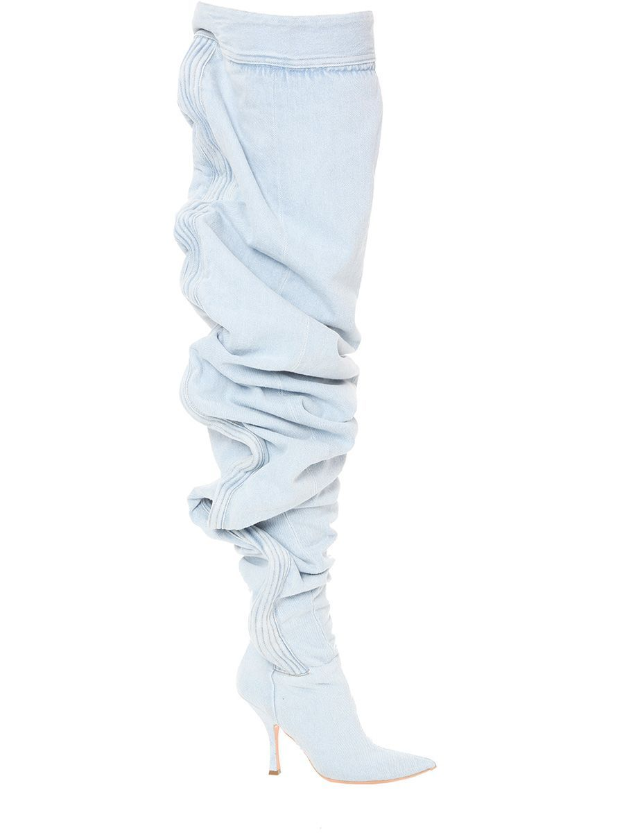 621ad746f70 Y-PROJECT THIGH-HIGH RUCHED DENIM BOOTS. #y-project #shoes # | Y ...
