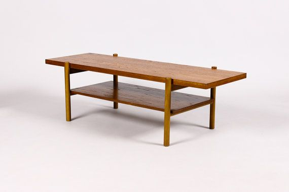 danish modern mid century vintage rectangular teak coffee table rh pinterest com
