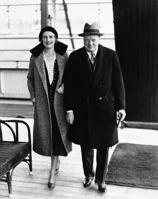 British Prime Minister Winson Churchill and his wife Clementine on board the SS Statendam in New York City, Jan. 25, 1932.