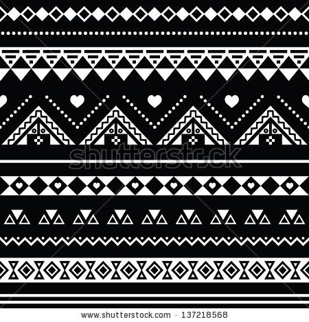 Aztec Seamless Pattern Tribal Black And White Background By RedKoala