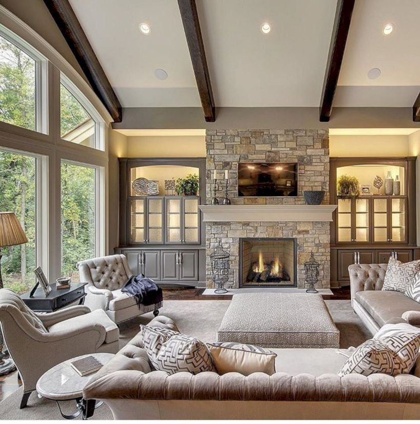 48 Adorable And Cozy Neutral Living Room Design Ideas Matchness Com Living Room Arrangements Living Room With Fireplace Family Room Design