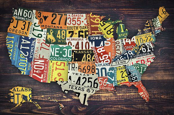 License Plate United States Map.Usa License Plates Map Us License Plates License Plates United