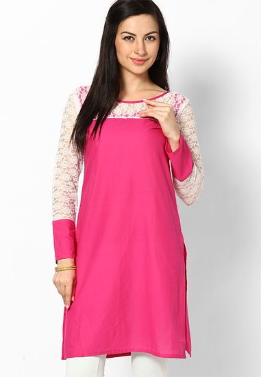 fa4f6cfb52054 Embroidered Pink Kurti - Aks Kurtas & kurtis for women | buy women kurtas  and kurtis online in indium