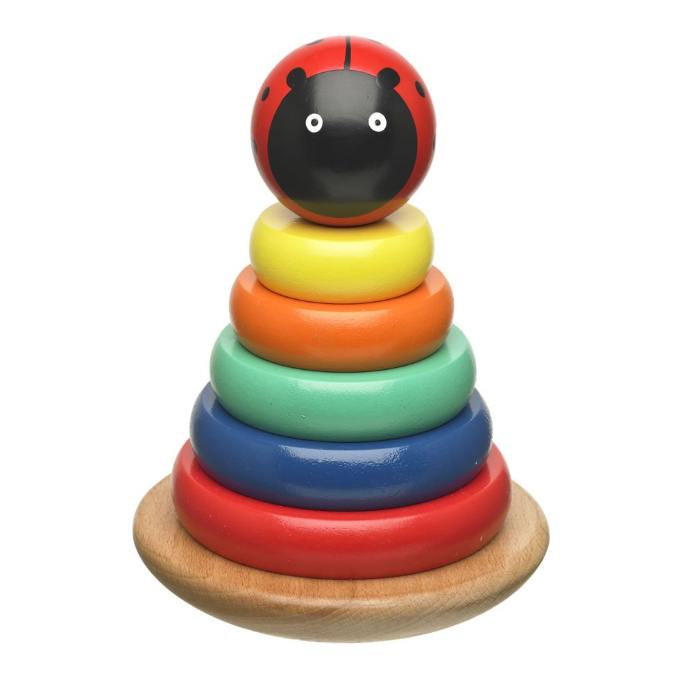 wilko play wooden ladybird stacking hoop | stacking games