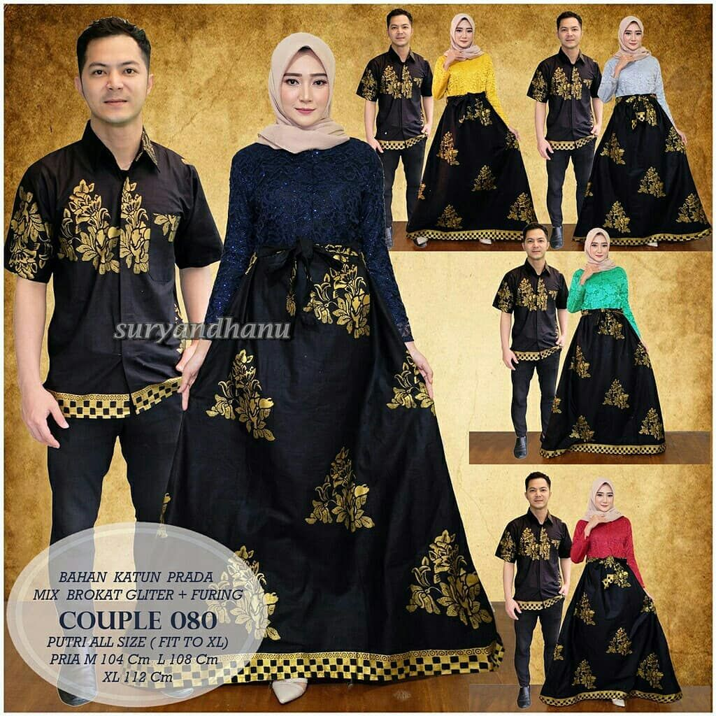 Edisi spesial Ramadhan Couple prada brokat Couple batik gamis