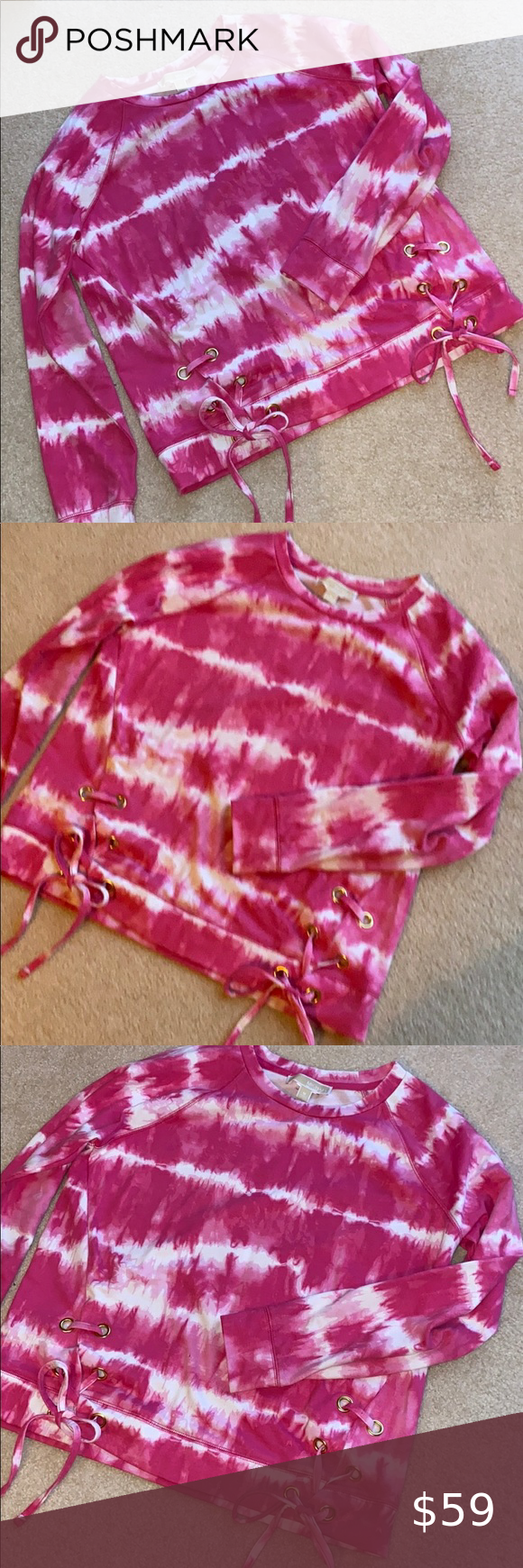 Michael Kors Pink Tie Dye Lace Up Sweatshirt Tie Dye Tie Dye Sweatshirt Pink Tie Dye [ 1740 x 580 Pixel ]