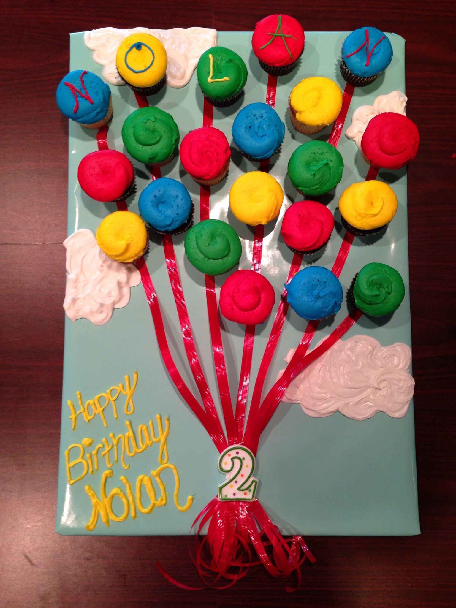 Birthday Balloons Cupcake Cake