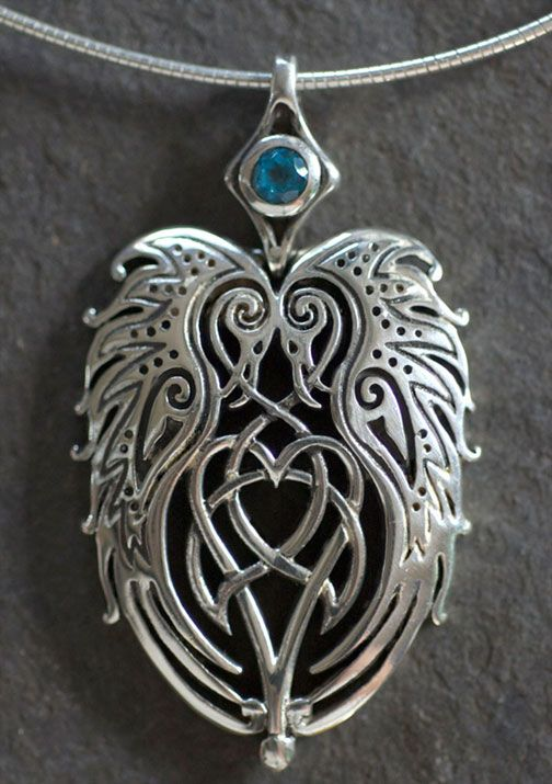 Ravens Heart Large Sterling Silver Celtic Pendant By Jen