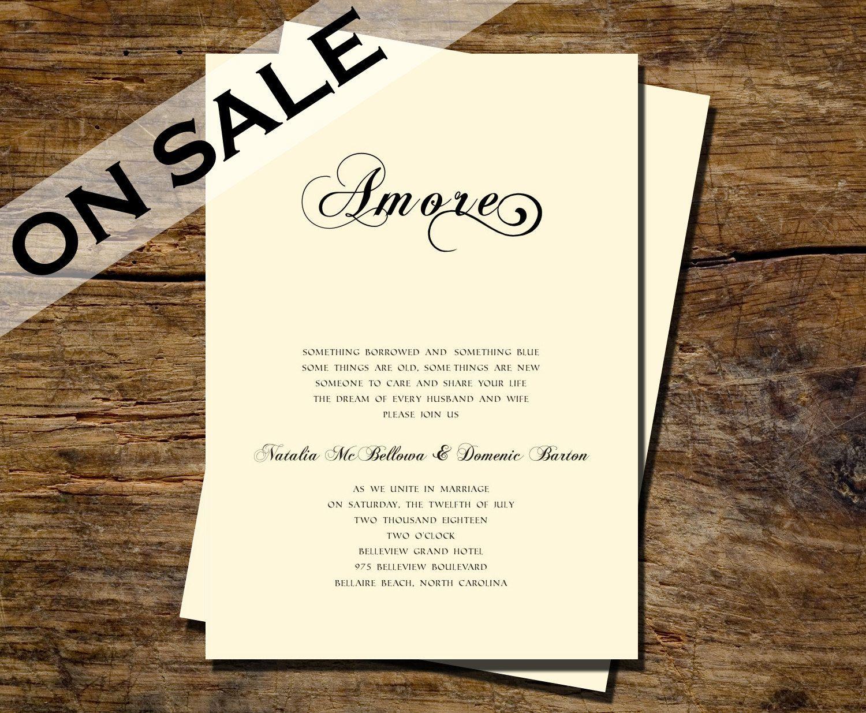 Printable Modern and Simple Natalia Invitation / Printable Wedding ...