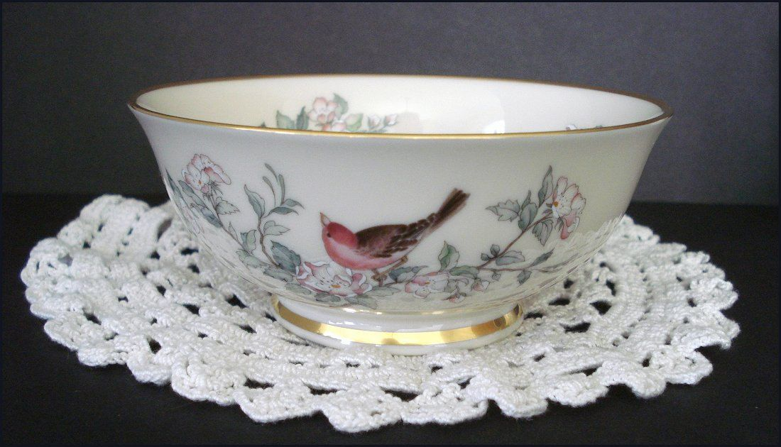 Lenox Serenade Pattern Bowl Bird And Blossoms On A Porcelain Dish